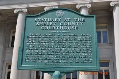Statuary at the Shelby County Courthouse Marker image. Click for full size.