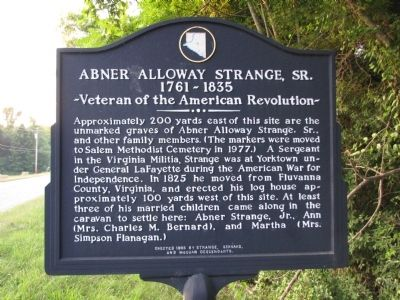 Abner Alloway Strange, Sr. Marker image. Click for full size.