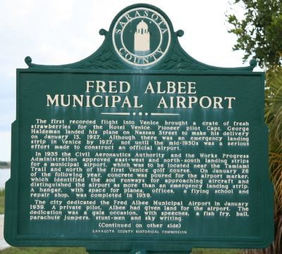 Fred Albee Municipal Airport Marker image. Click for full size.