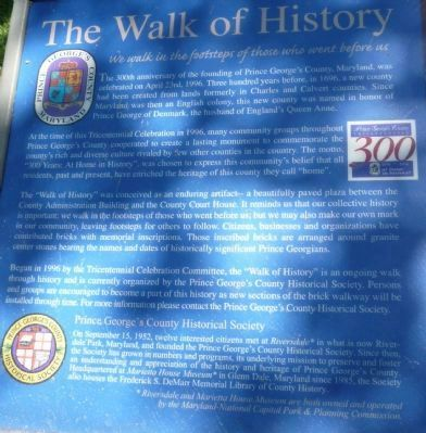 Prince George's County - The Walk of History Marker image. Click for full size.
