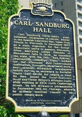 Carl Sandburg Hall Marker image. Click for full size.