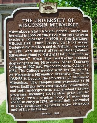 The University of Wisconsin-Milwaukee Marker image. Click for full size.