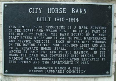 City Horse Barn Marker image. Click for full size.