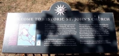 Welcome to St. John's Church Marker image. Click for full size.