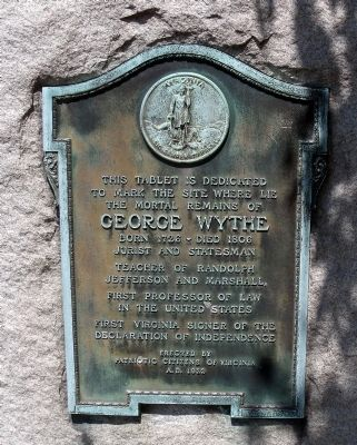 George Wythe Tablet image. Click for full size.