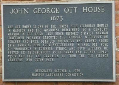 John George Ott House Marker image. Click for full size.