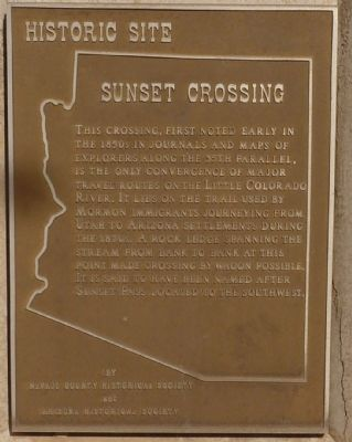 Sunset Crossing Marker Inscription image. Click for full size.
