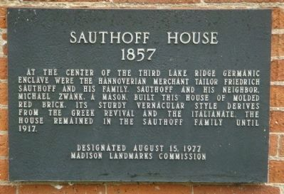 Sauthoff House Marker image. Click for full size.