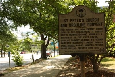 St. Peter's Church and Ursuline Convent Marker, looking south along Assembly Street image. Click for full size.