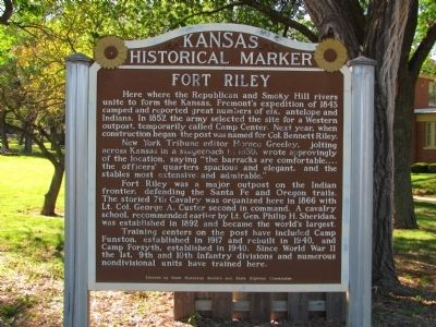 Fort Riley Marker image. Click for full size.