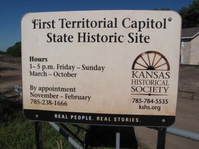 First Capitol of Kansas Marker image. Click for full size.