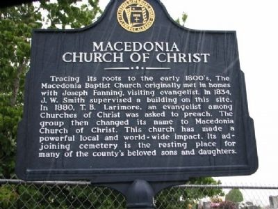 Macedonia Church of Christ Marker image. Click for full size.