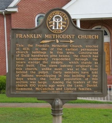 Franklin Methodist Church Marker image. Click for full size.