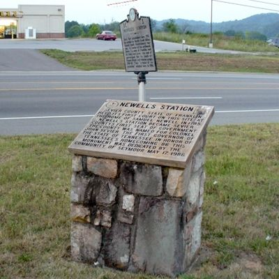 Newell's Station Marker and Stone image. Click for full size.