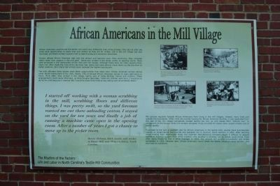 African Americans in the Mill Village Marker image. Click for full size.