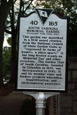 South Carolina Memorial Gardens Marker, reverse side image. Click for full size.