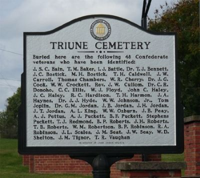 Triune Cemetery Marker image. Click for full size.