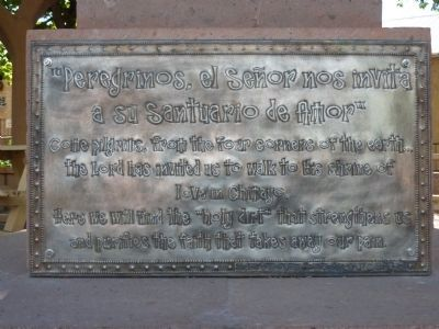 Santuario de Chimayo Pilgrim's Statue Inscription image. Click for full size.
