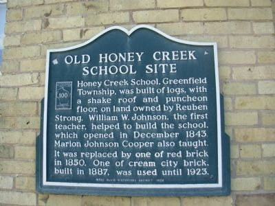 Old Honey Creek School Site Marker image. Click for full size.