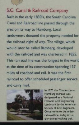 Bamberg Marker, S.C. Canel & Railroad Company image. Click for full size.