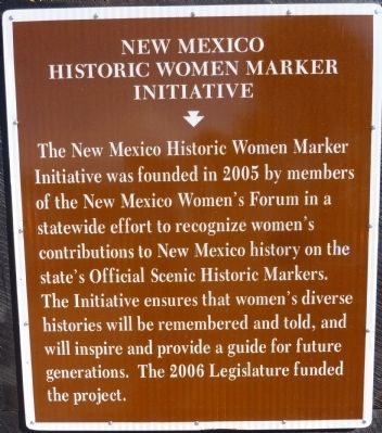 New Mexico Historic Women Marker Initiative - Reverse Side image. Click for full size.