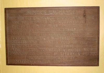 Miners Exchange Plaque image. Click for full size.