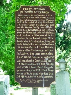 First Woman in Town of Lisbon Marker image. Click for full size.