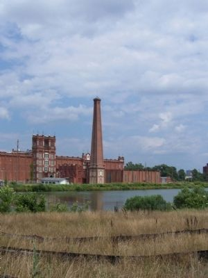 The Confederate States Powder Works Smokestack and Sibley Mill image. Click for full size.