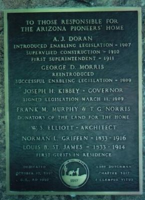 ARIZONA PIONEER'S HOME Marker image. Click for full size.