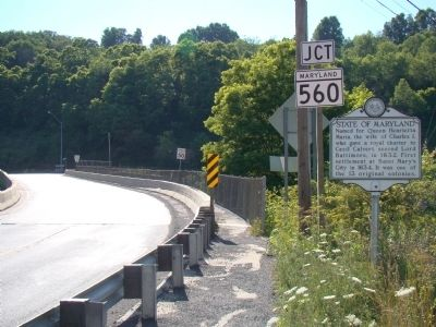 Marker with State of Maryland Across the Bridge image. Click for full size.