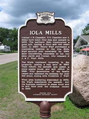 Iola Mills Marker image. Click for full size.