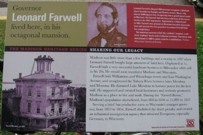 Governor Leonard Farwell lived here, in his octagonal mansion Marker image. Click for full size.