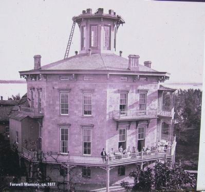 Closeup of octagonal mansion photo on marker image. Click for full size.