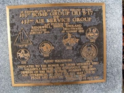 381st Bomb Group (H) B-17 and 432nd Air Service Group Marker image. Click for full size.