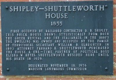 Shipley-Shuttleworth House Marker image. Click for full size.