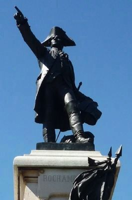 Rochambeau statue and inscription on pedestal, upper south face image. Click for full size.