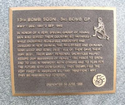 13th Bomb Sqdn., 3rd Bomb Gp. Marker image. Click for full size.