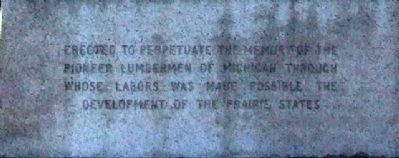 Lumberman's Monument Marker Text image. Click for full size.