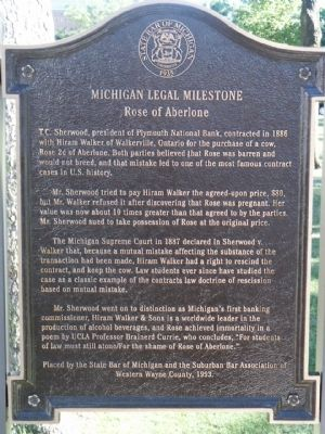 Michigan Legal Milestone - Rose of Aberlone Marker image. Click for full size.