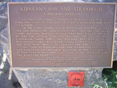 Kirkland Bar and Steakhouse Marker image. Click for full size.