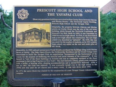 Prescott High School and the Yavapai Club Marker image. Click for full size.