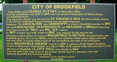 City of Brookfield Marker image. Click for full size.