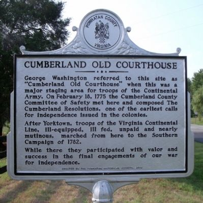 Cumberland Old Courthouse Marker image. Click for full size.
