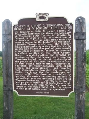 Governor Tommy G. Thompson's 1998 Address At Wisconsin's First Capitol Marker image. Click for full size.