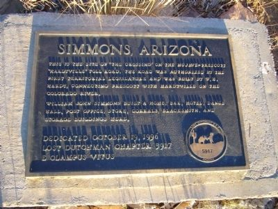 Simmons, Arizona Marker image. Click for full size.