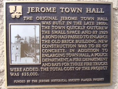 Jerome Town Hall Marker image. Click for full size.