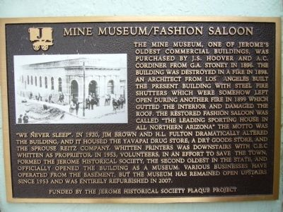 Mine Museum/Fashion Saloon Marker image. Click for full size.