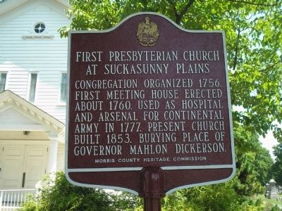 First Presbyterian Church at Suckasunny Plains Marker image. Click for full size.