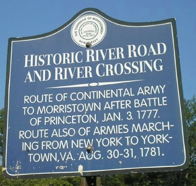 Historic River Road and River Crossing Marker image. Click for full size.