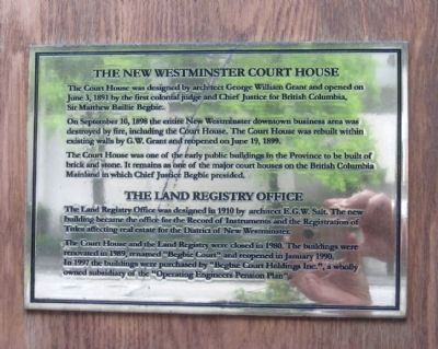 The New Westminster Court House and Land Registry Office Marker image. Click for full size.